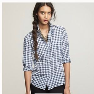 J Crew perfect shirt button up blue gingham